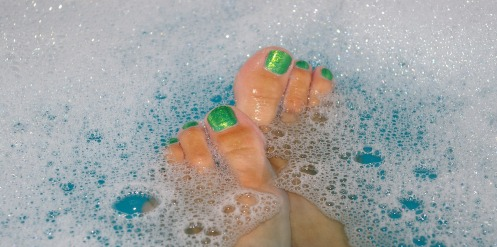 Toes in a bubble bath